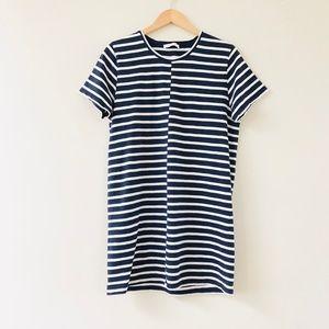 Everlane The Beach Tee Dress Navy White Stripe